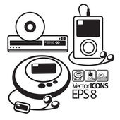 Vector Icons. MP3 player, CD player and DVD player — Stock Vector