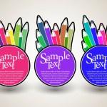 Multicolored label with colored pencils — Stock Vector #20800149
