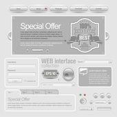 Light Web UI Elements Design Gray. — Stock Vector