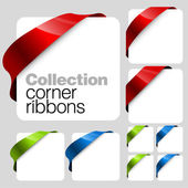 Collection of Vector corner ribbons — Stock Vector