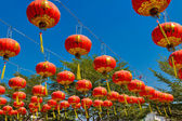 Red lantern in chinese temple — Stock Photo