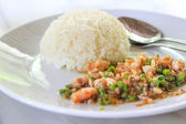 Basil Fried Rice with Pork.Basil fried rice with pork in white d — Stock Photo