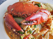Fried crab with curry powder Thailand cuisine — Stock Photo