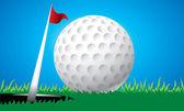 Golf Ball on Edge of Hole vector — Stock Vector