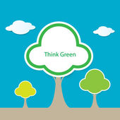 Think green tree vector — Stock Vector