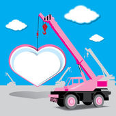Love concept with heart and crane under construction vector — Stock Vector