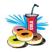 Set of donut vector hand drawn — Wektor stockowy