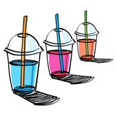 Beverage cup with drinking straw — Stockvector