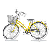 Old bicycle - sketch illustration hand drawn — Vector de stock