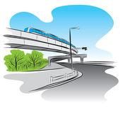 Road under overpass sky train bridge — Stock Vector