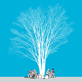 Büyük çıplak ağacın yaprakları ve insanlar elle çizilmiş olmadan — Stok Vektör