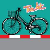Bisiklet - elle çizilmiş ve arka plan rengi — Stok Vektör