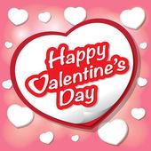 幸せなバレンタインデーのレタリングのグリーティング カード — ストックベクタ