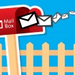 Vector red mailbox with mails — Stock Vector #43837179