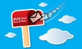 Vector red mailbox with mails — Stock Vector