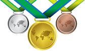 Auszeichnungen wie medaillen - vektor, gold, silber und bronze — Stockvektor