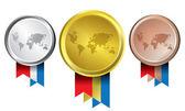 Ocenění jako medaile - zlaté, stříbrné a bronzové vektorové — Stock vektor