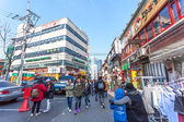SEOUL - MARCH 8: Street view of Hongdae Area , Hongik on March 8 — Stock Photo