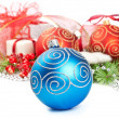 Christmas balls with pine decoration — Stock Photo