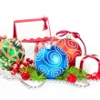 Foto Stock: Christmas balls with pine decoration
