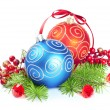 Christmas balls with pine decoration — 图库照片 #14598213