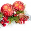 Christmas balls with pine decoration — Stockfoto