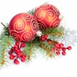 Christmas balls with pine decoration — 图库照片 #14598321