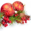 Christmas balls with pine decoration — Stock Photo #14598323