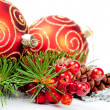 Christmas balls with pine decoration — Foto de Stock