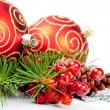 Stock fotografie: Christmas balls with pine decoration