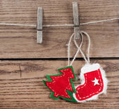 Christmas decoration with wooden background — Stock Photo