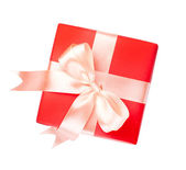 Gift box with satin present bow — Stock Photo