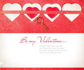 Valentines day card with red hearts — Stock Photo