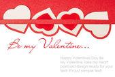 Valentijnsdag kaart met rode harten — Stockfoto