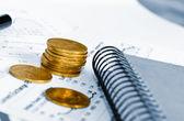 Business of financial analitics desktop — Stock Photo