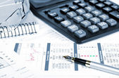 Business of financial analitics desktop — Stock Photo