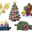 Symbols of New Year and Christmas - Stock Photo