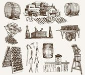 Winemaking. the production of sparkling wines — Stock Vector