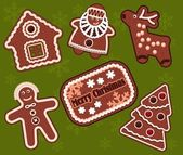 Christmas gingerbread cookies — Stock Vector