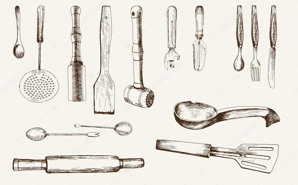 Utensili da cucina vettoriali stock lapuma 28960173 for Kit utensili da cucina