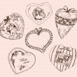 Vintage hearts for Valentines Day — Stock Vector