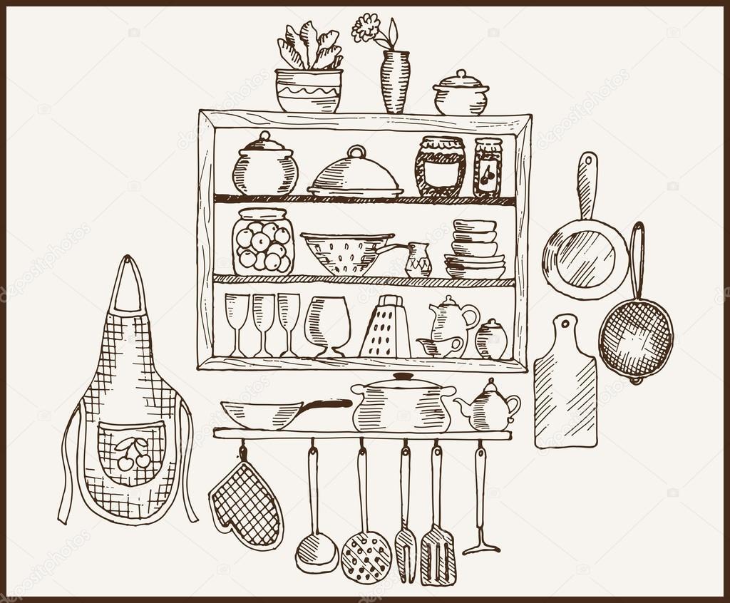 Utensilios de cocina vector de stock lapuma 34903261 for Utensilios de cocina vintage