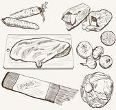 Vector ingredients products sketch set — Stock Vector