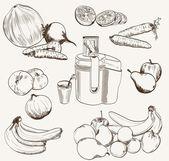 Vector fruit juice set sketch — Stock Vector