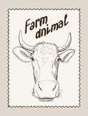Dibujado a mano vaca vector — Vector de stock