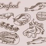 pescados y mariscos — Vector de stock  #49393987