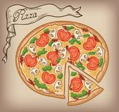 Pizza vector hand drawn — Stock Vector