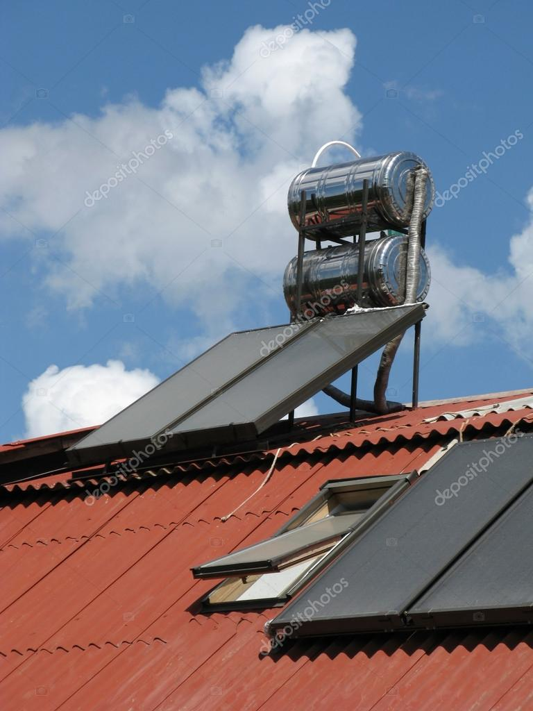 Solar heater on the roof — Stock Photo #12274889