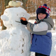 Boy making snowman — Stock Photo
