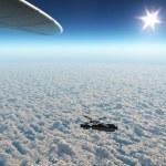 Satellite in Earth orbit — Stock Photo
